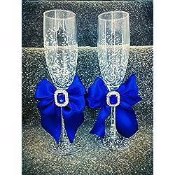 Copas brindis boda - Pintadas a mano boda color Royal azul