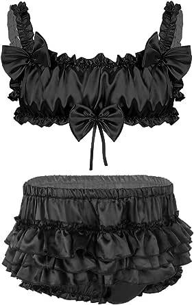 YOOJIA Men's Sissy Lingerie Set Shiny Satin Wireless Bra Tops with Mini Short Skirt Nightwear Underwear