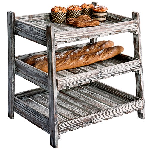 MyGift Country rustikal Holz Box Design Display Rack mit 3 Cascading Regalen (Datei-ordner Mit Designs)