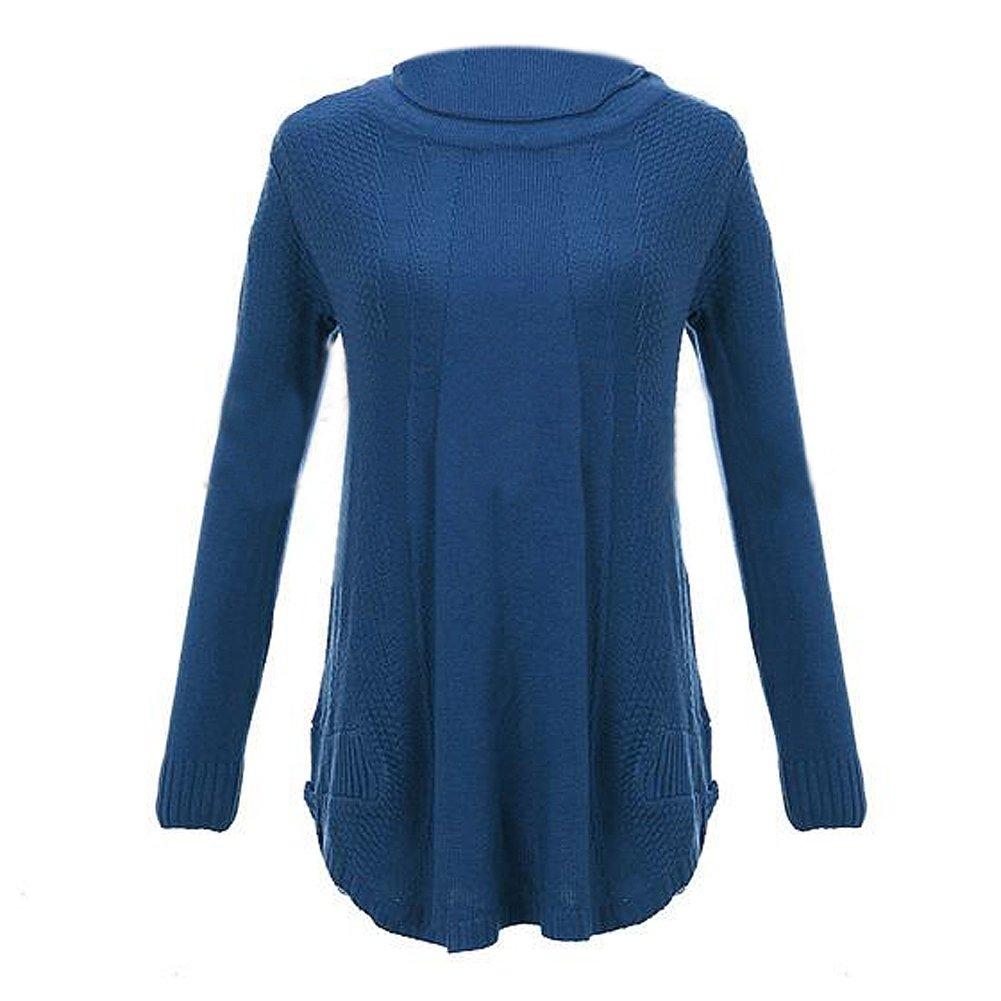 TOOGOO(R) Donne girocollo maniche lunghe in maglia ponticello del pullover allentato maglione Maglie