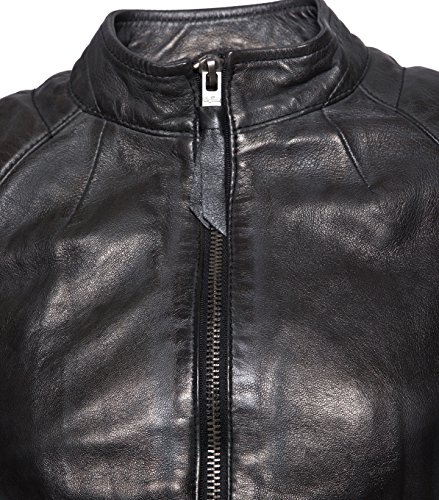TIGHA Damen Lederjacke Gipsy Bikerjacke Jacke Leder – Leder – grau vintage black L - 6