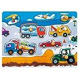 ROBOTIME Peg Puzzles in legno - Giocattoli didattici classici per 1, 2, 3 anni, Toldders, Boys and Girls - Regali educativi e di apprendimento per bambini (Busy Transportations)