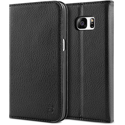 BEZ Hülle für Samsung Galaxy S7 Hülle, Handyhülle Kompatibel für Samsung Galaxy S7, Schutzhülle Tasche aus PU Leder Flip Case Taschenhülle mit Kreditkartenhaltern, Geldbeutel - Schwarz -