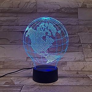 Longless lámpara de globo de mapa en 3D de visión nocturna LED remoto de la lámpara de regalo de colores la luz ambiente
