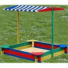 Sandbox 4–corner with 4 Seats-Roof with weatherproof Sandkiste Spielkasten Sandspielkasten Sandbox Wooden Box