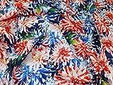 John Kaldor Blütenmuster Baumwollsatin Kleid Stoff orange & blau–Meterware