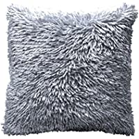 ShawsDirect Shiny Shaggy Chenille Cushion Cover Case Silver
