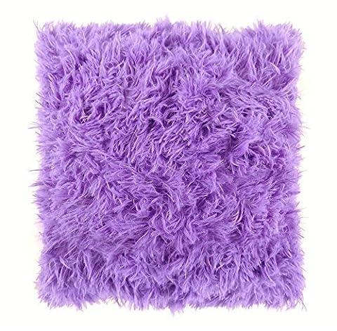 'Très Doux Shaggy Fourrure Synthétique Daim Violet Prune Housse de coussin 16–40cm