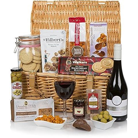 Der Luxus-Geschenkkorb - Speisen & Gourmet-Geschenkkörbe - Essen und Wein-Geschenkkörbe - verpackt in einem 43 cm großen traditionellen Weidenkorb