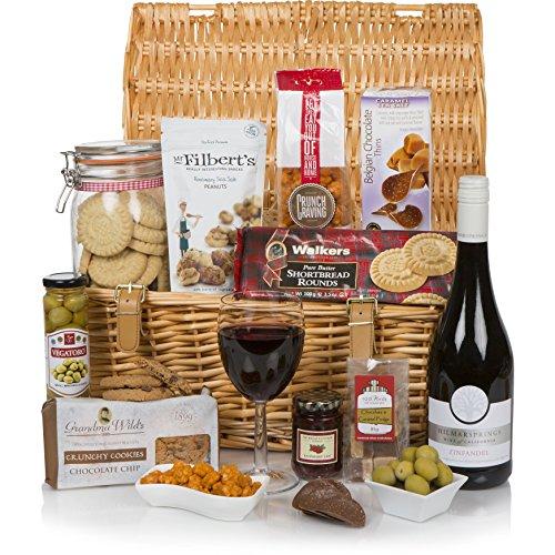 """La cesta de regalo de lujo - Cestas de comida y de regalo gourmet - Cesta de comida y vino - Empaquetado en una gran cesta de mimbre tradicional de 17"""""""