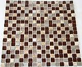 Restposten Fliesen Mosaik Mosaikfliese Glas Stein Alu Mix braun 8mm Neu #HO32
