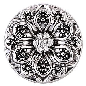 Morella® Damen SMALL Click-Button Druckknopf 12 mm Ø Blume weiß