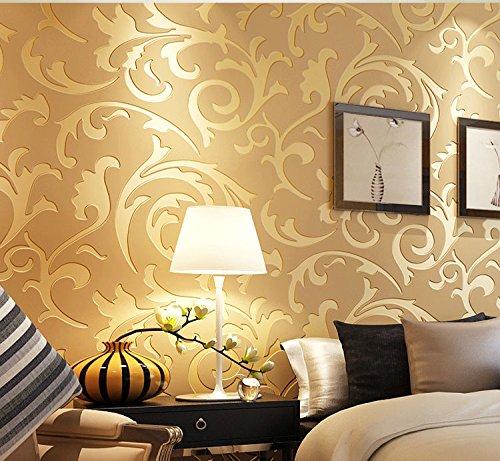 Designer Style Wall Plate (modernen europäischen Style Acantus Leaf Damask Tapete, 3D Prägung?Luxus Gold, 33'(10Mio.), Rolle, die ganz)