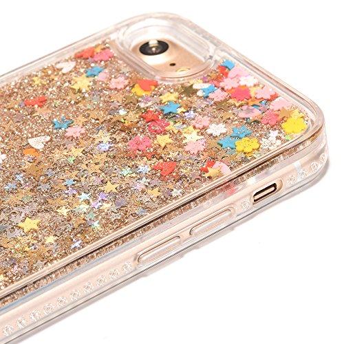 iPhone 7 4.7 Hülle, Voguecase Silikon Schutzhülle / Case / Cover / Hülle / TPU Gel Skin für Apple iPhone 7 4.7(Perlen Treibsand-Hustle Baby-Pink) + Gratis Universal Eingabestift Fruchttiefsand -Farbe Herz golden