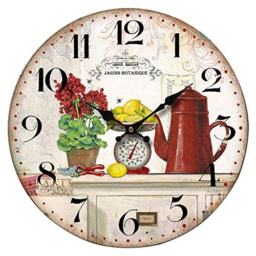 BHP Cuisines Horloge Murale Design Impression Chiffres Noirs Affichage de Manger Quartz B991747