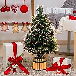 Albero artificiale verde, fibre ottiche multicolor, 60 cm, lampada 12V 10W, alberi di Natale artificiali, alberi con fibre ottiche
