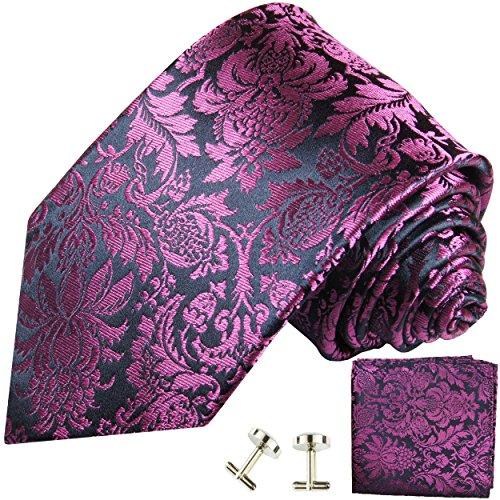 Cravate rose bleu fleurs ensemble de cravate 3 Pièces ( 100% Soie Cravate + Mouchoir + Boutons de manchette )