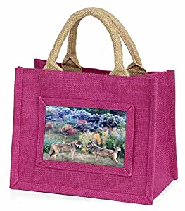 Advanta–Mini Pink Jute Bag Wölfe Print Little Mädchen klein Einkaufstasche Weihnachten Geschenk, Jute, pink, 25,5x 21x 2cm