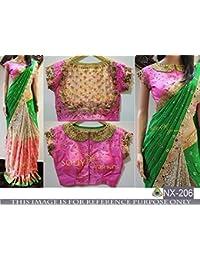 Pramukh Enterprise Women's Faux Georgette Saree With Blouse Piece (Nx-206, Light Green , Pink, Free Size)