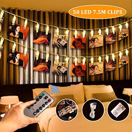 SanGlory 7,5M 50 LED Luci Foto Mollette con Remoto, Luci per Foto Polaroid Alimentata Batteria e USB, Porta Foto Clip LED Bianco Caldo 8 Modalità per Cameretta Balcone Negozio