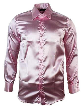 Mens Italian Design Baby Pink Light Silk Satin Finish Shirt Smart ...