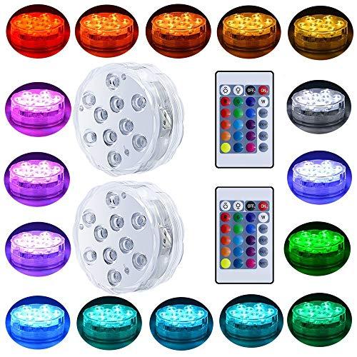 ED-Leuchten batteriebetriebenes Spot Lights mit Fernbedienung Kleiner Lampen dekorativer Fisch-Schüssel Licht ferngesteuerter kleine LED-Leuchten für Aquarium Vase Basis Pond Hoch ()