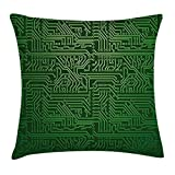 DCOCY Digital Überwurf Kissen Kissenbezug, Computer Art Hintergrund mit Platine Diagramm Hardware Draht, illustration, dekorative quadratisch Accent Kissen Fall, 45,7 x 45,7 cm, smaragd Fern Green