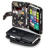 Terrapin Handy Leder Brieftasche Case Hülle mit Kartenfächer für Nokia Lumia 630 mit Blumen Interior (Schwarz mit Blumen Interior)