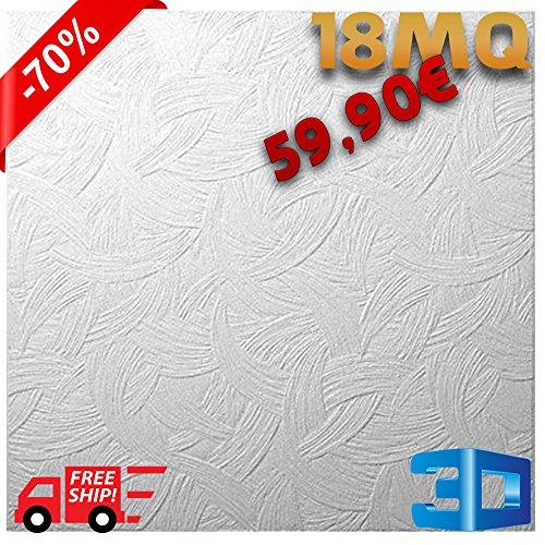 Pannelli in polistirene espanso polistirolo a soffitto MQ 18 50x50cm con spessore di 1cm di decorativi 3D antimuffa isolanti termo/acustici DOPPIA DENSITA' 3 modelli (Ape)