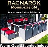 Ragnarök-Möbeldesign PolyRattan - DEUTSCHE Marke - Eigene Produktion - 8 Jahre GARANTIE auf UV-Beständigkeit Gartenmöbel Essgruppe Tisch + 8 Stühle + 4 Hocker + 20 Polster Grau