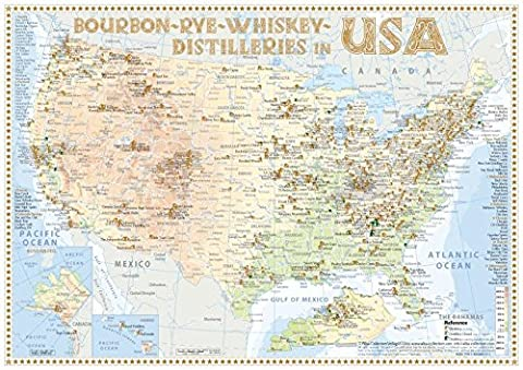 Whiskey Distilleries USA - Tasting Map 34x24cm: The Whisky Landscape