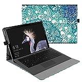 Fintie Hülle für Microsoft Surface Pro 6 (2018) / Pro 5 (2017) / Pro 4 / Pro 3 - Multi-Sichtwinkel Hochwertige Tasche Schutzhülle aus Kunstleder, Type Cover kompatibel, Emerald