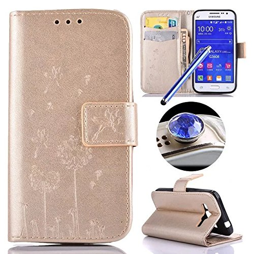 Custodia per Samsung Galaxy Core Prime G360, Etsue lusso di stile del dente di leone modello di colore puro oro ultra molle Portafoglio in pelle cassa di libro Con chiusura magnetica Ultra Slim Fit Sottile flip copertura di alta qualità di cuoio dell