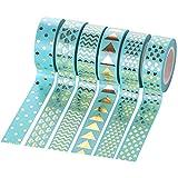 mylifeunit Gold Washi Tape Set, dekorative Klebeband für Tagebuch Plan Craft Arts (6Stück) 40 mm*40 mm*15 mm grün