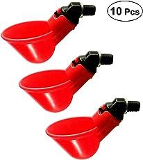 OUNONA Geflügeltränke Automatische Huhn Wasser Feeder Trinker 10 Stück (Rot)