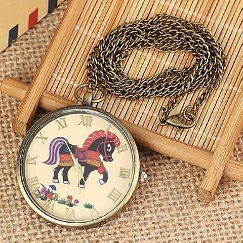 Patrón caballo esfera redonda collar de la mujer de cuarzo reloj de la aleación pátina verde (1pc)