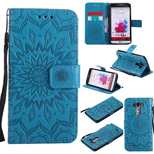 LG G3 Hülle,LG G3 Leder Sonnenblumen Hülle,LG G3 Lanyard Wallet Schutzhülle,BONROY® Retro geprägte Sonnenblumen Muster PU Leder Flip Hülle Wallet Case Tasche Cover Handytasche Schutzhülle Lederhülle Handyhülle in Book Style Stand Case mit Kredit Kartenschlitz für LG G3-blau Lg G3 Dual-sim-32