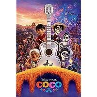 Póster Disney Pixar Coco - Guitar (61cm x 91,5cm) + 2 marcos transparentes con suspención