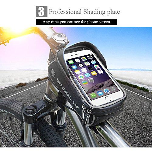 Fahrradtasche, Fozela Wasserdicht Fahrrad Rahmentasche Fahrradrahmentasche Handyhalterung, unten 6.0 inch Gray