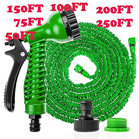 Deluxe Expandable Flexible No Kink Garden Hose Pipe 3 x Expanding. 50FT / 75FT / 100FT / 150FT / 200FT / 250FT Pampered Gardens Best Magic Stretch Hosepipe. Fits Common Style Fittings. Tap to Pressure Washer Suitable. With Professional Spray Gun. PLEASE NOTE: Top Quality Hoses can only be Guaranteed when bought from
