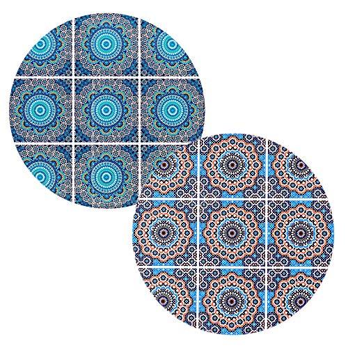 BOHORIA® Premium Design Keramik Topfuntersetzer 2er Set - Dekorative Untersetzer für Vasen, Töpfe, Karaffen und Flaschen auf ihrem Esstisch aus Holz, Glas oder Stein (rund | 18cm) (Moroccan Mosaic) -