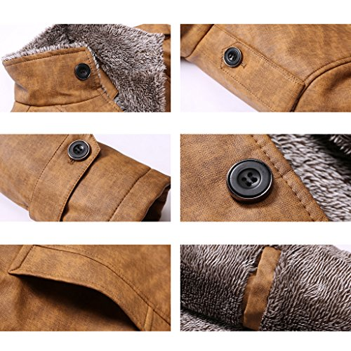 Highdas Winter PU Leder Jacken Thermische Mantel Mens Faux Leder Jacken Warme Kleidung Dunkel Gelb