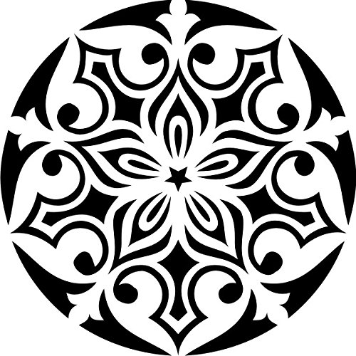 T-Shirt E1154 Schönes T-Shirt mit farbigem Brustaufdruck - Logo / Grafik / Design - abstraktes Ornament mit schönen Ranken und Blättern Schwarz