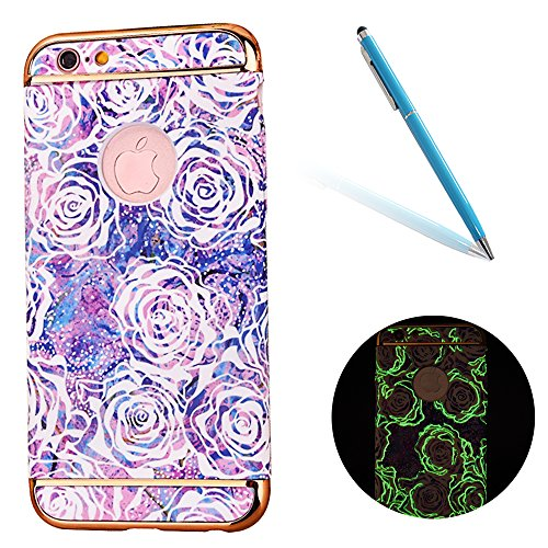 "iPhone 7Plus Handyhülle, Glitzer Leuchtend Design CLTPY Elegant Malerei Muster iPhone 7Plus Hartcase Dünne Hybrid Glanz Überzug Bumper 3-pieces Schale Etui für 5.5"" Apple iPhone 7Plus (Nicht iPhone 7) Weiße Rose"