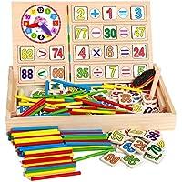 Tiempo de enseñanza de la seta, Aprendizaje del tiempo, Matemáticas Matemáticas Conteo de dígitos Caja de aprendizaje con 40PCS Números de madera + 100 PCS Bloques de ladrillos