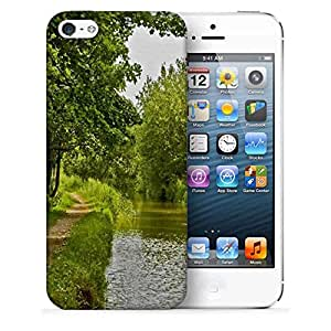 Snoogg Single Path Along Lake Side Printed Protective Phone Back Case Cover For Apple Iphone 5 / 5S