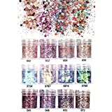GOTONE 12 Colori Set di polvere glitter per unghie, Glitter Cosmetici per 3D Corpo Decorazioni Brillanti Lustrini Olografici per Nail Arte Viso Capelli Labbra Ombretto Trucco Feste(SET A)