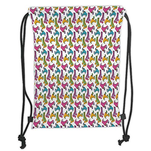 LULUZXOA Gym Bag Printed Drawstring Sack Backpacks Bags,Teen Room Decor,Retro Colorful Roller Skates in Vivid Tones Girls Sports Hobby Illustration, (Bag Gym Roller)