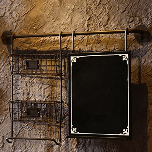Schmiedeeisen Regal Tun die Alten Effekt Loft Retro industriellen Stil Kreative Wand Regal Eingang Wand Dekorationen Display-Stand Bar Bücherregal mit Korb (Farbe : Schwarz) (Black Metal Bücherregal Regal)