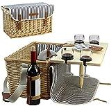 Cestino da picnic in vimini per 4, kit da picnic per 4persone, salice, servizio set regalo con bambù vino snack tavola per campeggio e party